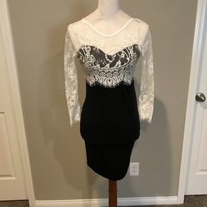 Dresses & Skirts - Black and White Lace Dress